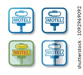 motel stickers. set of 4... | Shutterstock .eps vector #1092969092