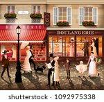 evening walk on the street of...   Shutterstock .eps vector #1092975338