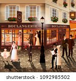evening walk on the street of... | Shutterstock .eps vector #1092985502