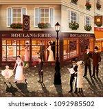 evening walk on the street of...   Shutterstock .eps vector #1092985502