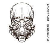 skull contour sketch for tattoo ... | Shutterstock .eps vector #1092986405