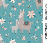 Stock vector vector teal mama llama seamless pattern background perfect for fabric scrapbooking kids and 1093004648