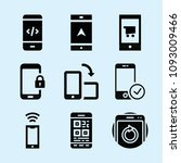 filled set of 9 cellphone icons ... | Shutterstock .eps vector #1093009466
