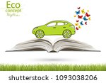 electric car on an open book on ... | Shutterstock .eps vector #1093038206