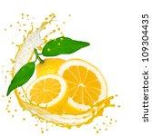 splash with lemon isolated on... | Shutterstock . vector #109304435