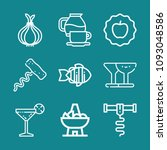 set of 9 food outline icons... | Shutterstock .eps vector #1093048586