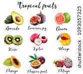 set of tropical fruits in low... | Shutterstock .eps vector #1093057325