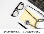 close up of stethoscope  paper... | Shutterstock . vector #1093059452