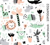 Stock vector vector seamless pattern in scandinavian style jungle animals 1093069022