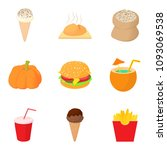 food on vacation icons set.... | Shutterstock . vector #1093069538