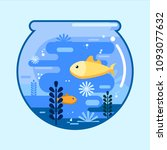 fish bowl with gold fish in... | Shutterstock .eps vector #1093077632