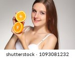 young happy girl posing with... | Shutterstock . vector #1093081232