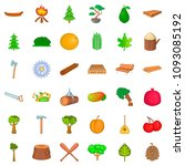 Wood Icons Set. Cartoon Style...