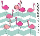 flamingo pattern  vector ... | Shutterstock .eps vector #1093090586