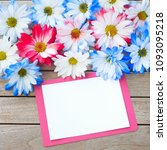 daisy flowers in red white and... | Shutterstock . vector #1093095218