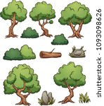 cartoon forest trees  bushes ... | Shutterstock .eps vector #1093098626