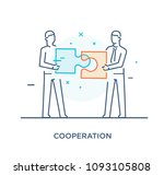 businessmen connect puzzle.... | Shutterstock .eps vector #1093105808