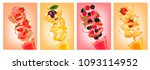 set of labels of of fruit in... | Shutterstock .eps vector #1093114952