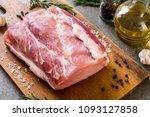 fresh pork raw fillet on wooden ... | Shutterstock . vector #1093127858
