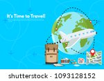 travel suitcase with different... | Shutterstock .eps vector #1093128152