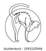 scared cat continuous line... | Shutterstock .eps vector #1093135046