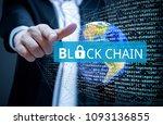 concept of  blockchain ... | Shutterstock . vector #1093136855