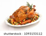 roasted turkey with colorful... | Shutterstock . vector #1093153112