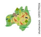 australia map flora and fauna.... | Shutterstock .eps vector #1093179026