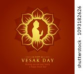vesak day banner card with gold ... | Shutterstock .eps vector #1093182626