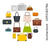 bag baggage suitcase icons set... | Shutterstock .eps vector #1093184786