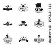 social riot logo set. simple...   Shutterstock .eps vector #1093184816