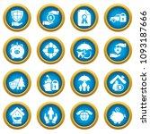 insurance icons set. simple... | Shutterstock .eps vector #1093187666