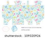 favor box die cut. sea pattern... | Shutterstock . vector #109320926