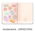 realistic open foreign passport ... | Shutterstock . vector #1093217042