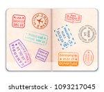 realistic open foreign passport ... | Shutterstock . vector #1093217045