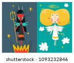 cute angel and devil. fairy... | Shutterstock .eps vector #1093232846
