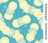 fruit pattern with lemon and... | Shutterstock .eps vector #1093263626