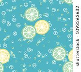 fruit pattern with lemon and... | Shutterstock .eps vector #1093263632