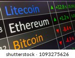 Small photo of Ethereum coin crypto trading chart for BTC, LTC, ETH. Cryptocurrency, and showing values on trading chart of exchange screen. Closeup of business deal of buying and selling Ethereum.