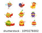 superhero fruits in masks and... | Shutterstock .eps vector #1093278302