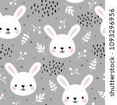 cute rabbit seamless pattern ...   Shutterstock .eps vector #1093296956