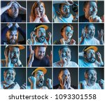 collage about emotions of... | Shutterstock . vector #1093301558