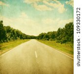 Empty Asphalt Road In Grunge...