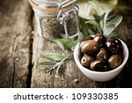 A Bowl Of Fresh Black Olives...