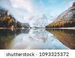 calm alpine lake braies ... | Shutterstock . vector #1093325372