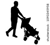 a man pushes a baby carriage  a ... | Shutterstock .eps vector #1093345958