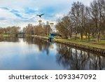 a flying bird on the cross of...   Shutterstock . vector #1093347092