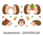 vector set of cute cartoon... | Shutterstock .eps vector #1093350128