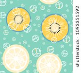 fruit pattern with lemon and... | Shutterstock .eps vector #1093351592