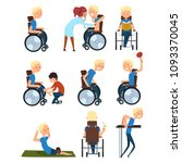 man in wheelchair in different... | Shutterstock .eps vector #1093370045